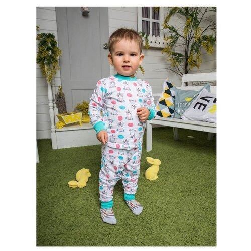 Купить Пижама Futurino размер 98, белый/голубой/розовый, Домашняя одежда
