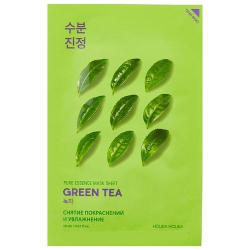 Фото - Holika Holika противовоспалительная тканевая маска Pure Essence Зелёный чай, 20 мл holika holika pure essence acai berry витаминизирующая тканевая маска ягоды асаи 20 мл