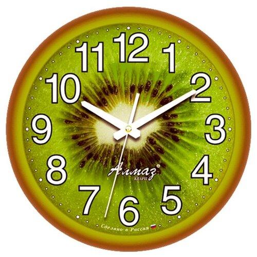 Часы настенные кварцевые Алмаз E31 коричневый/зеленый