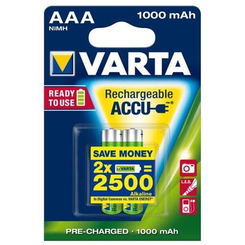 Фото - Аккумулятор Ni-Mh 1000 мА·ч VARTA Recharge Accu Power 1000 AAA 2 шт блистер аккумулятор ni mh 2600 ма·ч varta recharge accu power 2600 aa 4 шт блистер