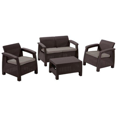 Комплект мебели Allibert Corfu Set (диван, 2 кресла, стол), коричневый