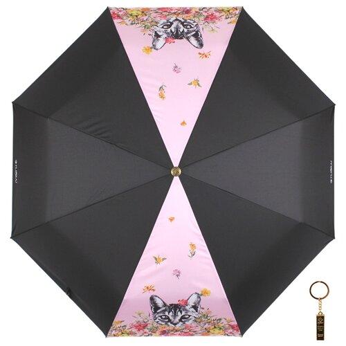 Зонт автомат FLIORAJ Premium Золотой брелок Кот и цветы черный/розовый
