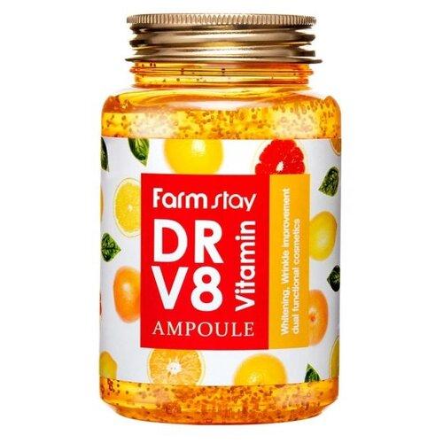 Farmstay Dr.V8 Vitamin Ampoule Многофункциональная витаминная сыворотка для лица, 250 мл витаминная осветляющая сыворотка physician s formula skin booster vitamin shot brightening 30 мл