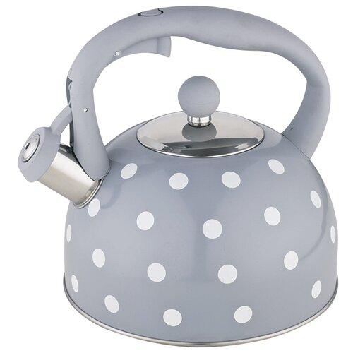 Webber Чайник со свистком BE-0575/BE-0576 2,7 л серый в горошек чайник agness горошек со свистком 937 801 белый 3 л