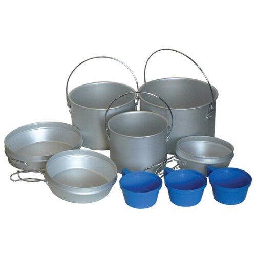 Набор туристической посуды Tramp TRC-002, 9 шт. стальной/синий
