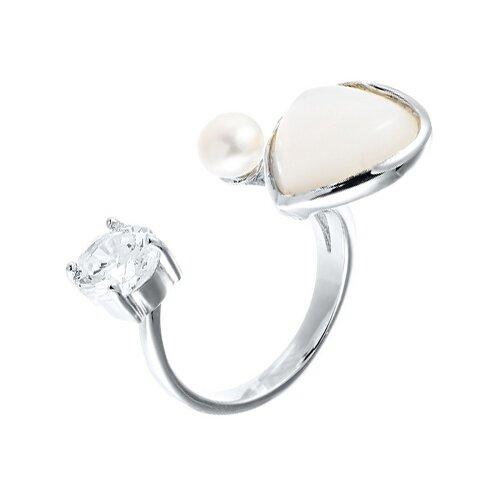 JV Кольцо с жемчугом, перламутром и фианитами из серебра ZR6917-KO-SH-WP-001-WG, размер 16.5 фото