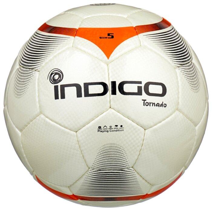 Футбольный мяч Indigo TORNADO C00 белый/оранжевый 5