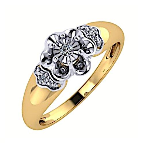 ЛУКАС Кольцо с 3 бриллиантами из комбинированного золота R01-D-L-34760, размер 16.5 кольцо из золота r01 d r306443sap