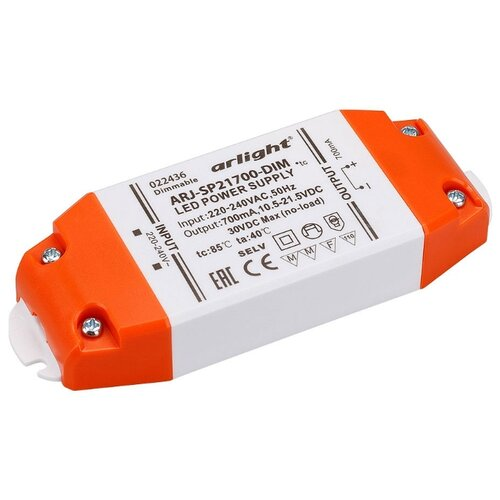 Блок питания для LED Arlight ARJ-SP21700-DIM 15 Вт arlight заглушка для alu flat с отверстием