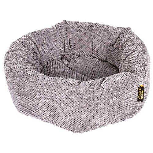 Лежак для собак PRIDE Ватрушка Велюр 45х45х12 см графит