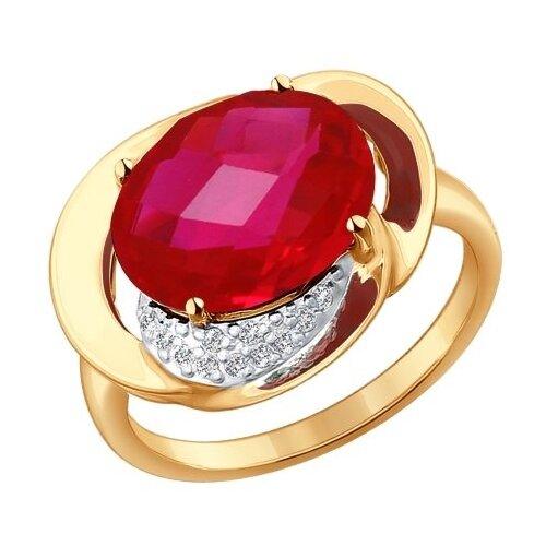 SOKOLOV Кольцо из золота с корундом рубиновым (синт.) и фианитами 714333, размер 18 sokolov кольцо из золота с жемчугом и корундом 791038 размер 18