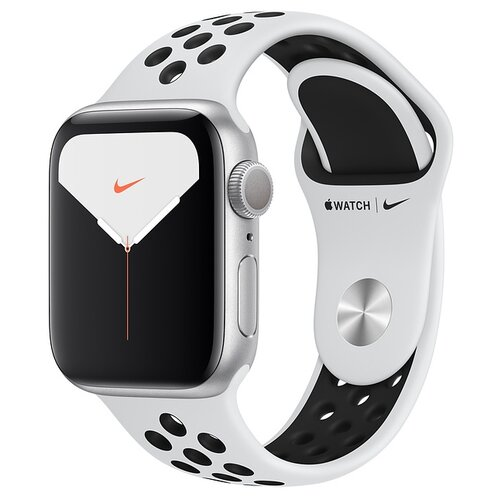 Умные часы Apple Watch Series 5 GPS 44мм Aluminum Case with Nike Sport Band, серебристый/чистая платина/черный умные часы apple watch series 3 38mm aluminum case with sport band серебристый белый