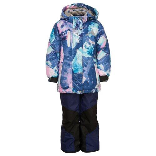 Купить Комплект с полукомбинезоном Oldos размер 92, синий/розовый, Комплекты верхней одежды