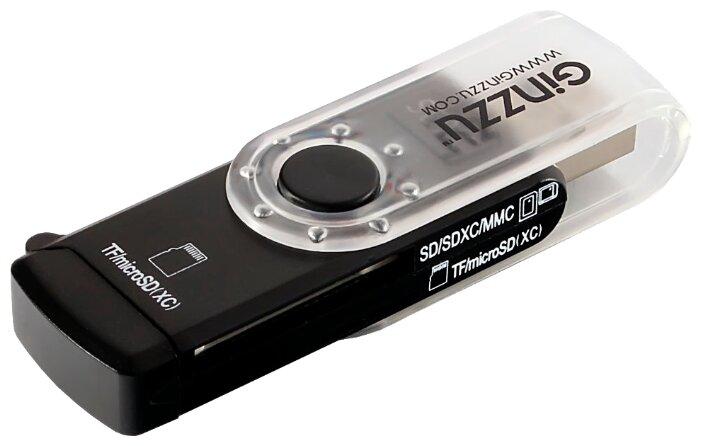 Картридер Ginzzu GR-322B с интерфейсом USB 3.0, SD/SDXC/SDHC/MMC и 2 x microSD/microSDXC/microSDHС, черный