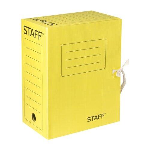 Фото - STAFF Папка архивная с завязками, А4, 150 мм, микрогофрокартон желтый папка архивная с завязками микрогофрокартон 75 мм до 700 листов плотная синяя brauberg 124853