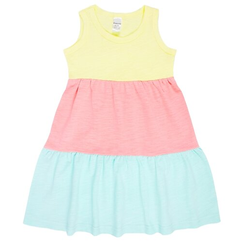 Платье Веселый Малыш размер 128, желтый/розовый/голубой