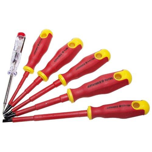 Набор отверток STAYER (6 предм.) 25145-H6_z01 красный/желтый набор отверток stayer 100 250в cr v stayer 25145 h6 z01 диэлектрические тестер 6 шт