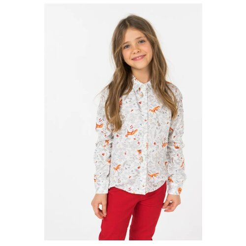 Рубашка Sela размер 140, белый футболка sela sela se001emdqgz1