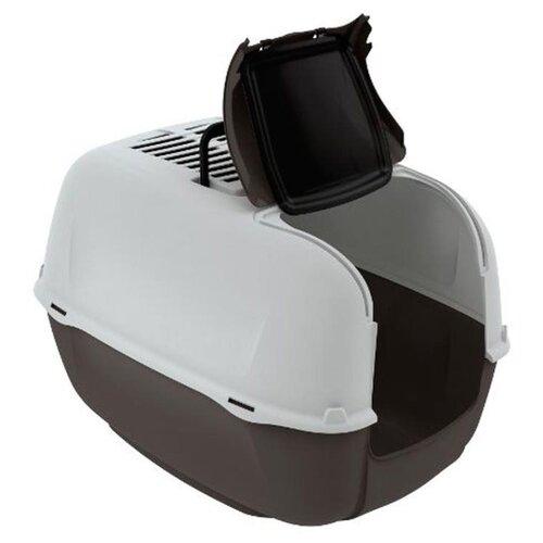 Туалет-домик для кошек Ferplast Prima Cabrio 52.5х39.5х38 см коричневый/белый