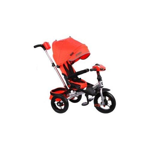 Трехколесный велосипед Moby Kids Leader 360° 12x10 AIR Car красный/серебристый велосипед трехколесный funny scoo volt air ms 0576 фиолетовый