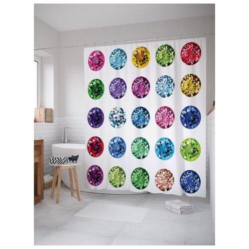 Штора для ванной JoyArty Цветные камни 180х200 (sc-17401) разноцветный