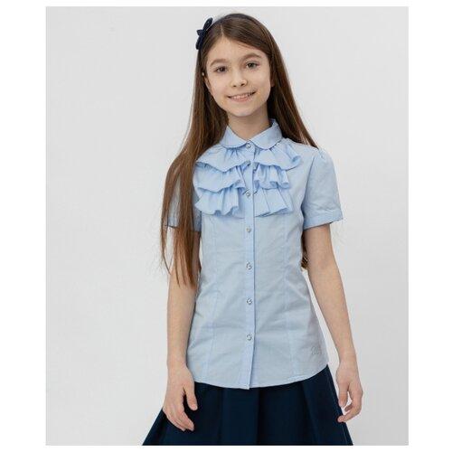 Купить Блузка Button Blue размер 164, голубой, Рубашки и блузы