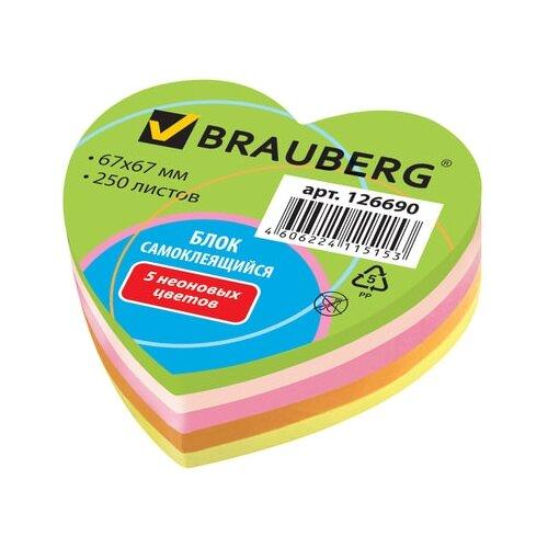 BRAUBERG Блок самоклеящийся Неоновый в форме сердца (126690) разноцветныйБумага для заметок<br>