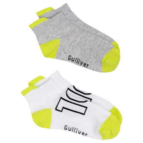 Носки Gulliver Baby комплект 2 пары размер 18-20, серый/белый/желтый