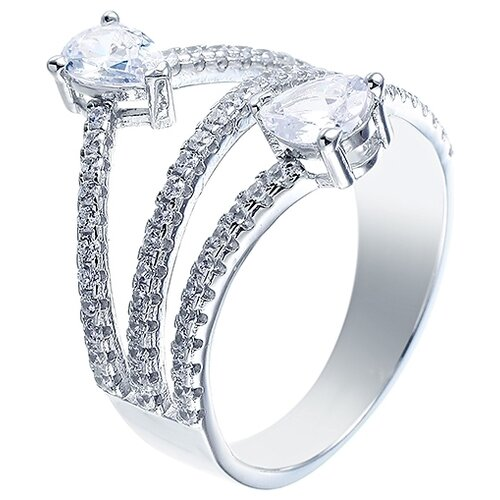 JV Кольцо с фианитами из серебра R-HL9032-KO-001-WG, размер 17 jv кольцо с фианитами из серебра r25193 r 001 wg размер 17