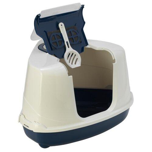 Туалет-домик для кошек Moderna Flip Corner 55.7х45.1х38.2 см черничный 1 шт.