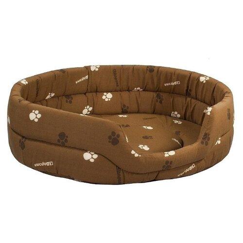 Лежак для собак и кошек Дарэлл Овальный стёганый 9142 53х42х16 см коричневый