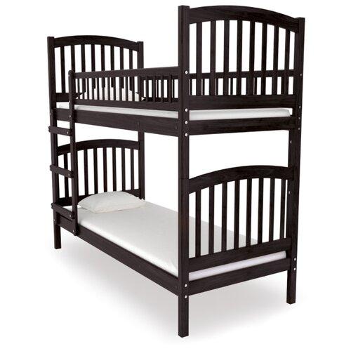 Двухъярусная кровать детская Nuovita Senso Due, размер (ДхШ): 198х93 см, спальное место (ДхШ): 190х80 см, каркас: массив дерева, цвет: Mogano