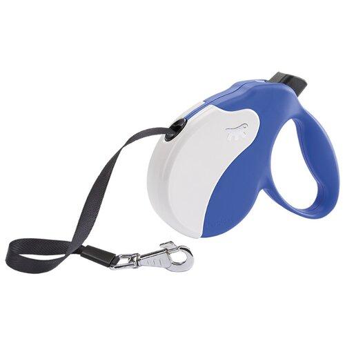 Поводок-рулетка для собак Ferplast Amigo tape M белый/синий 5 м поводок рулетка для собак ferplast amigo tape s серый 5 м