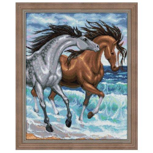 Купить Алмазная живопись Набор алмазной вышивки Кони на берегу (АЖ-1647) 40х50 см, Алмазная вышивка