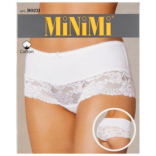 MiNiMi Трусы Трусы-шорты средней посадки с кружевом, размер 46/M, bianco трусы шорты lowry