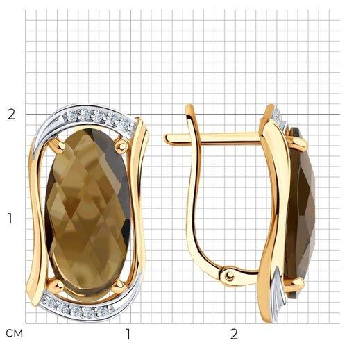 Diamant Серьги из золота с родированием с раухтопазами и фианитами 51-320-00791-3