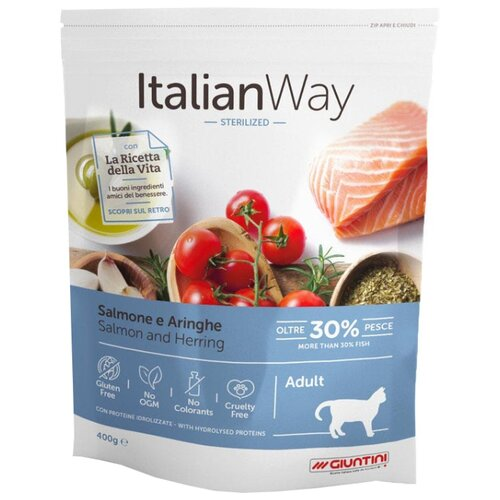 Сухой корм для стерилизованных кошек Italian Way с лососем, с сельдью 400 г