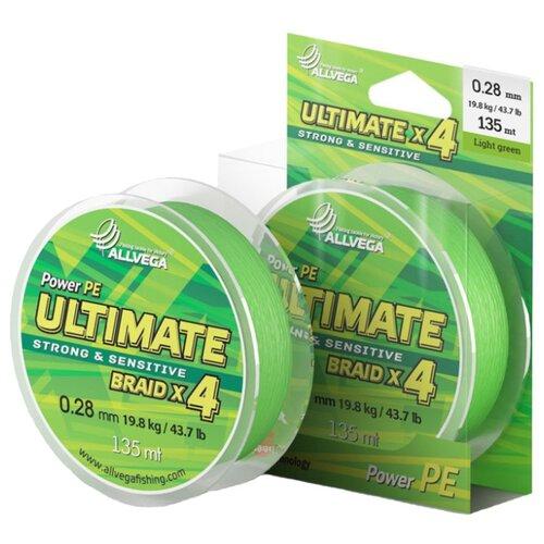 Плетеный шнур ALLVEGA ULTIMATE light green 0.28 мм 135 м 19.8 кг