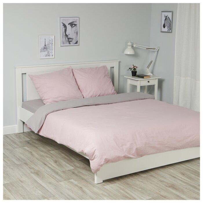 Постельное белье евростандарт Василиса Глянец 387 поплин розовый / серый