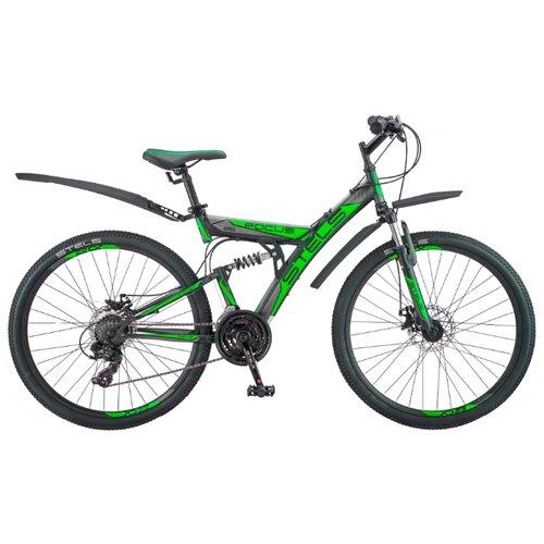 Горный (MTB) велосипед STELS Focus MD 21-sp 26 V010 (2019) черный/зеленый 18 (требует финальной сборки) велосипед stels focus v 18 sp 2017
