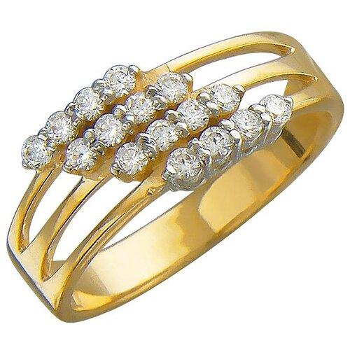 Эстет Кольцо с 16 фианитами из жёлтого золота 01К138461, размер 19