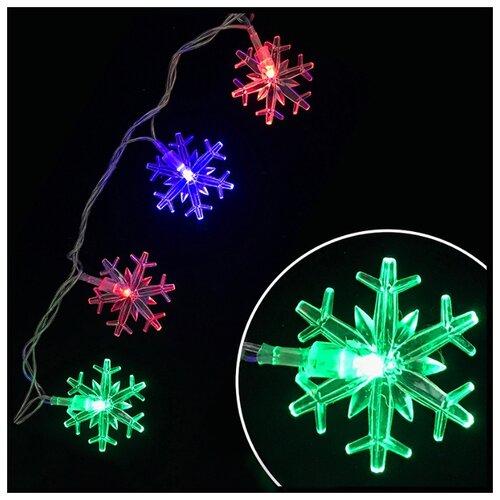 Гирлянда Волшебная страна Снежинки (007868), 300 см, 20 ламп, разноцветный/прозрачный провод волшебная страна световое панно дед мороз на упряжке 20 ламп 44 5х24 см волшебная страна