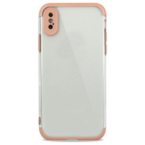 Противоударный силиконовый чехол для (Эпл) iPhone X / XS Матовый полупрозрачный с Цветной рамкой / Pastila (Золото)