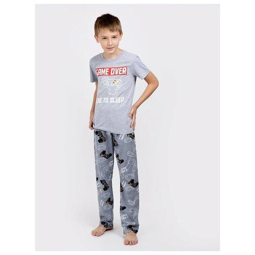 Купить Пижама MOR размер 128, серый меланж/черный, Домашняя одежда