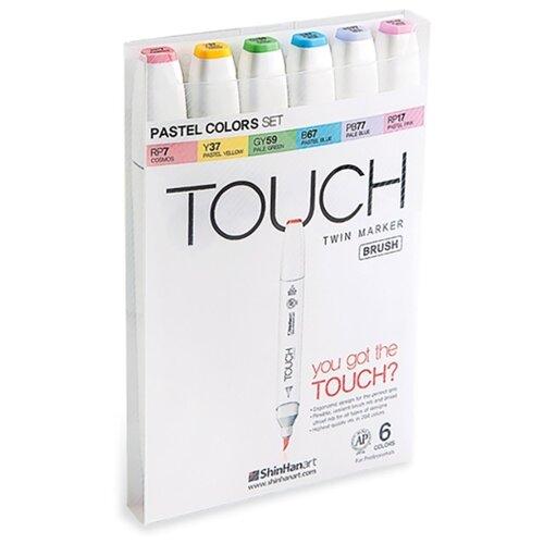Купить Touch Twin Набор маркеров Brush пастельные тона (1200616), 6 шт., Фломастеры и маркеры