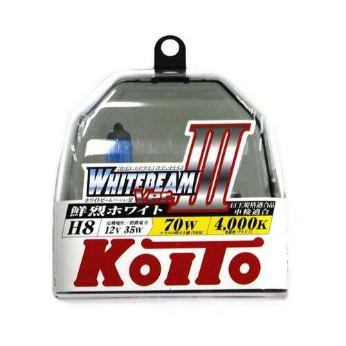 Лампа автомобильная галогенная KOITO Whitebeam III P0758W H8 4000K 12V 35W (70W) 2 шт. лампа автомобильная галогенная mtf titanium htn1208 h8 12v 35w 2 шт