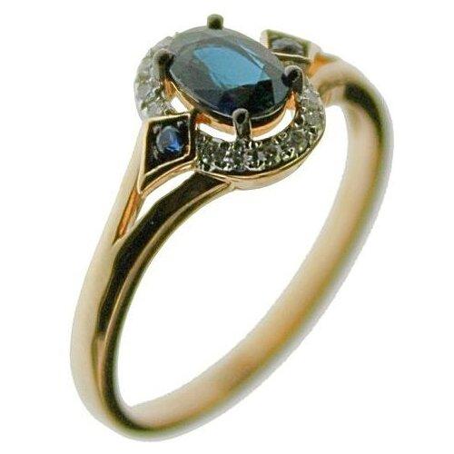 ЛУКАС Кольцо с сапфирами и бриллиантами из красного золота R01-D-RR03012ASA-R17, размер 16.5 бронницкий ювелир брошь из красного золота h01 d hru1105aru r17