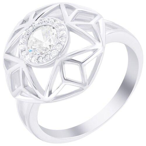 ELEMENT47 Кольцо из серебра 925 пробы с ювелирным стеклом и фианитами ALR-06-KO-001-WG, размер 17.5