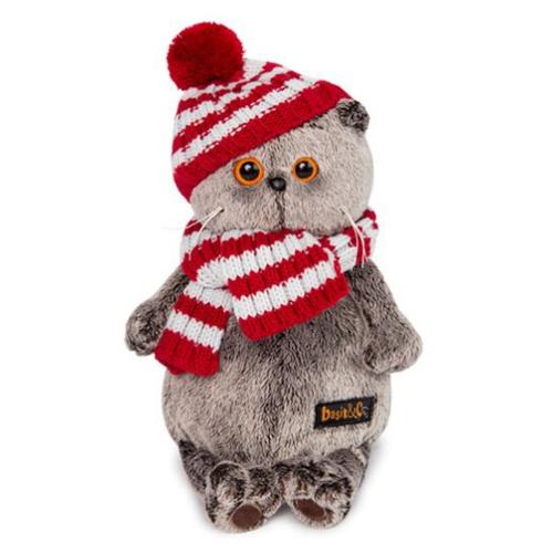 Мягкая игрушка Basik&Co Кот Басик в полосатой шапке с шарфом 30 см