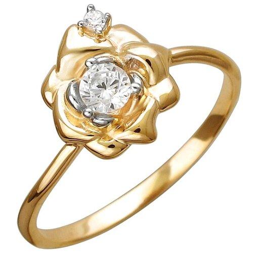 Эстет Кольцо с 3 фианитами из красного золота 01К1112224Р, размер 17.5